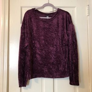 Free People Red Crushed Velvet Sweater